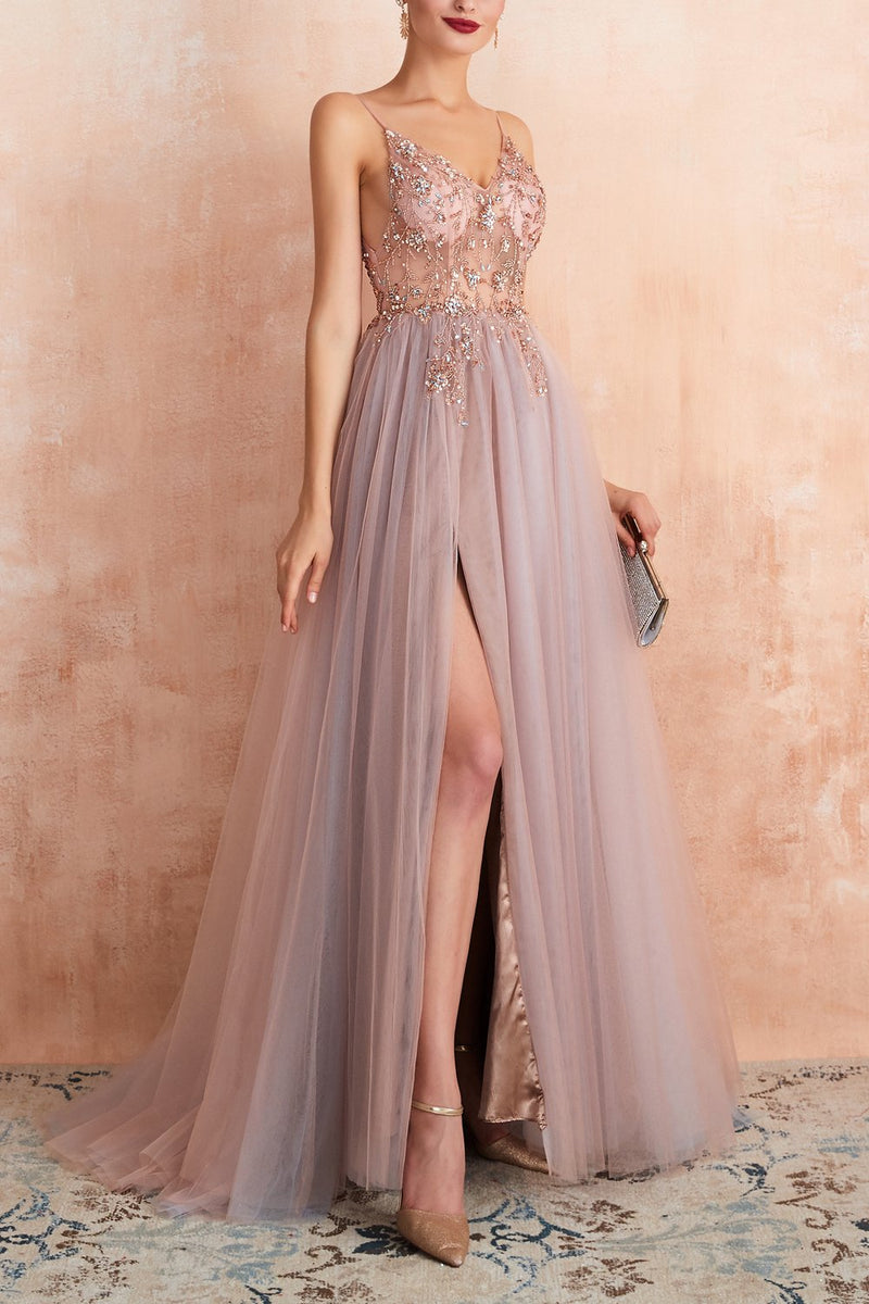 Load image into Gallery viewer, Spaghetti Straps Slit Tulle Prom Dress