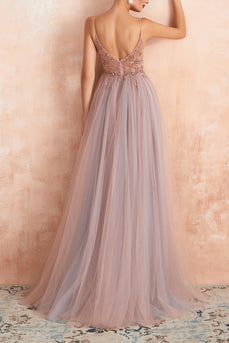 V-neck Grey Pink Tulle Prom Dress