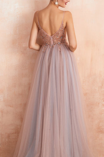 Spaghetti Straps Slit Tulle Prom Dress