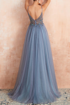 V-neck Slit Tulle Dress