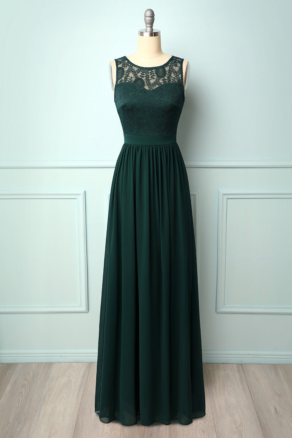 Dark Green Lace Chiffon Long Dress