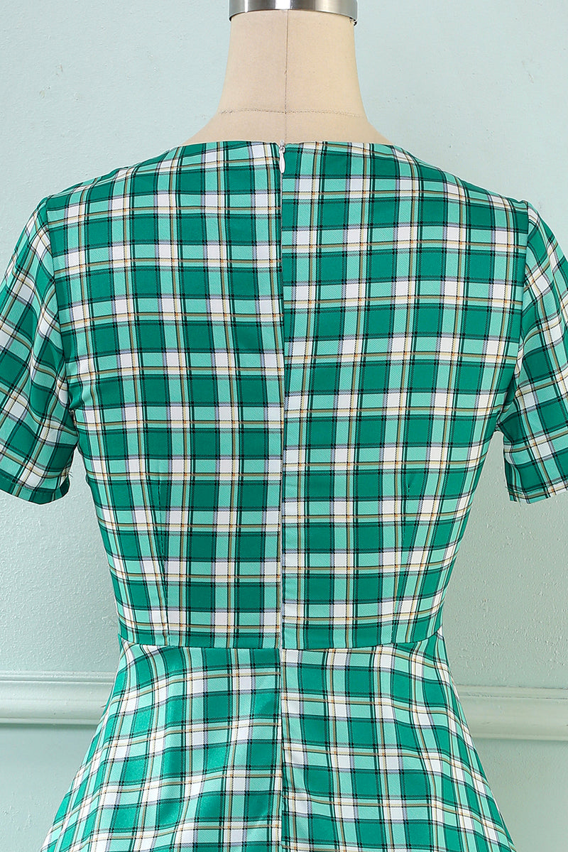 Load image into Gallery viewer, Plaid Green 1950s Dress