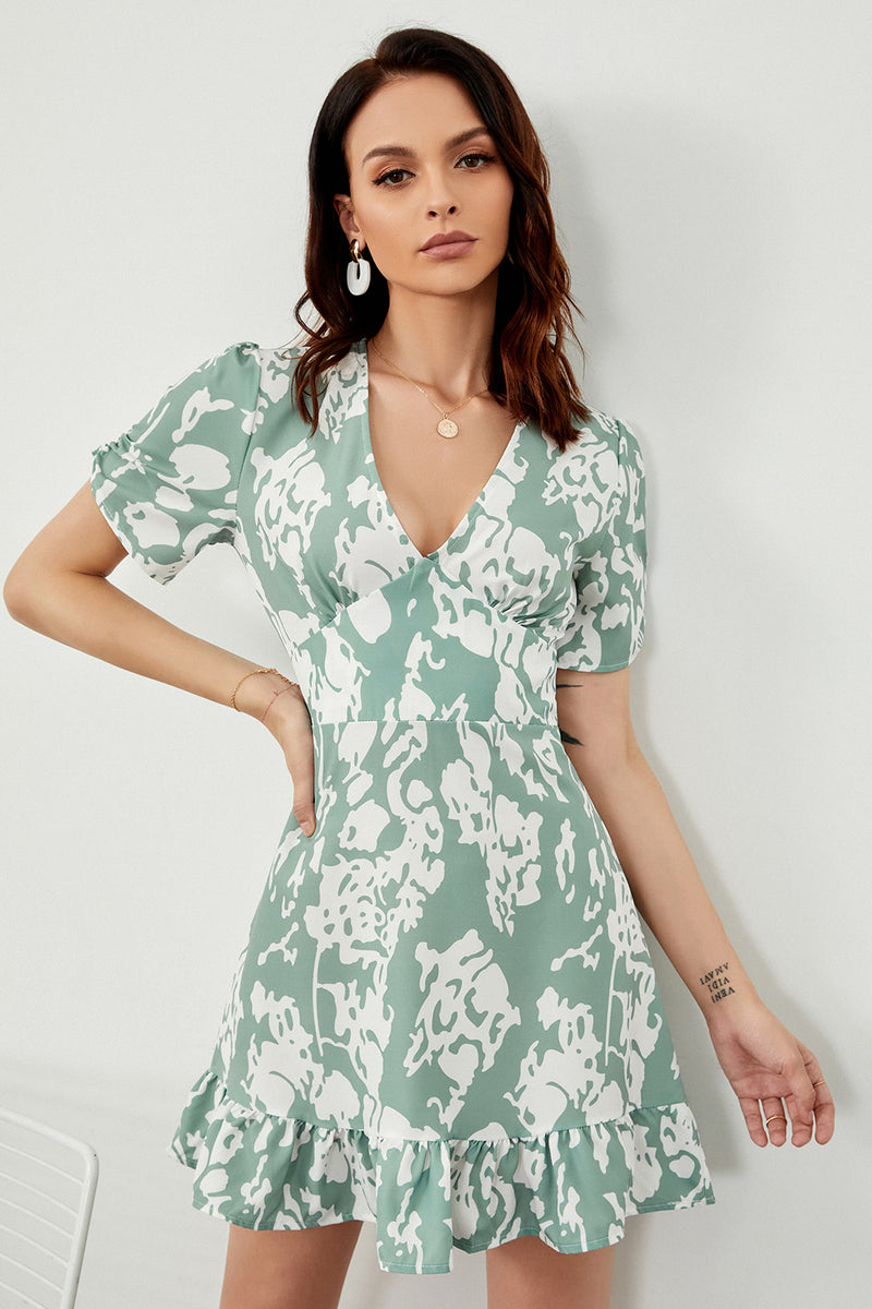 Load image into Gallery viewer, Green Print Summer Dress