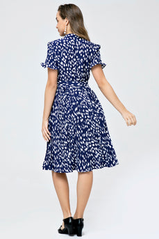 Retro Style Pleated Skirt Printed Waist Tie Dress