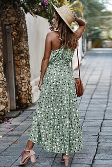 Pink Polka Dots Maxi Boho Dress