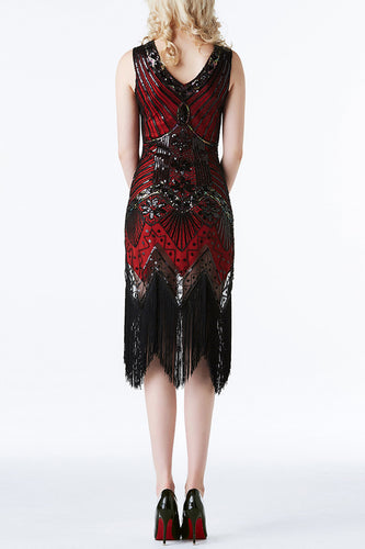 Red Glitter Fringe 1920s Flapper Dress
