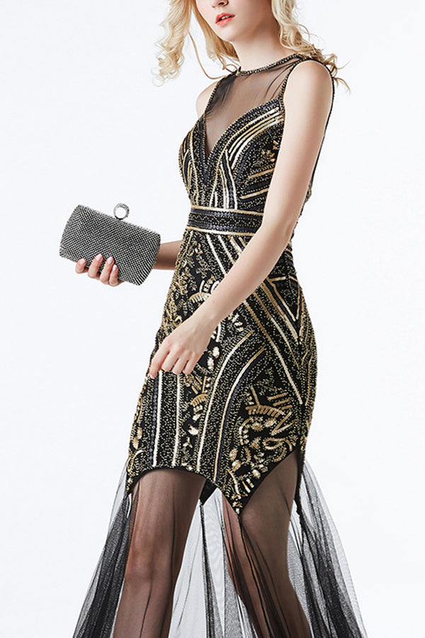 Load image into Gallery viewer, Black and Gold Sequin Long Tulle 1920s Dress