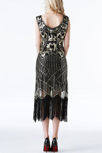1920s Black Sequins Flapper Tea-Length Dress