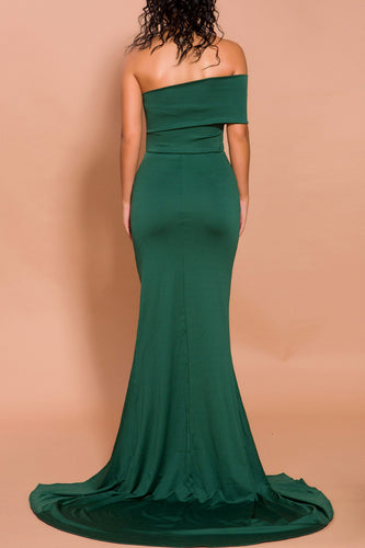 Mermaid Green One Shoulder Dress with Slit