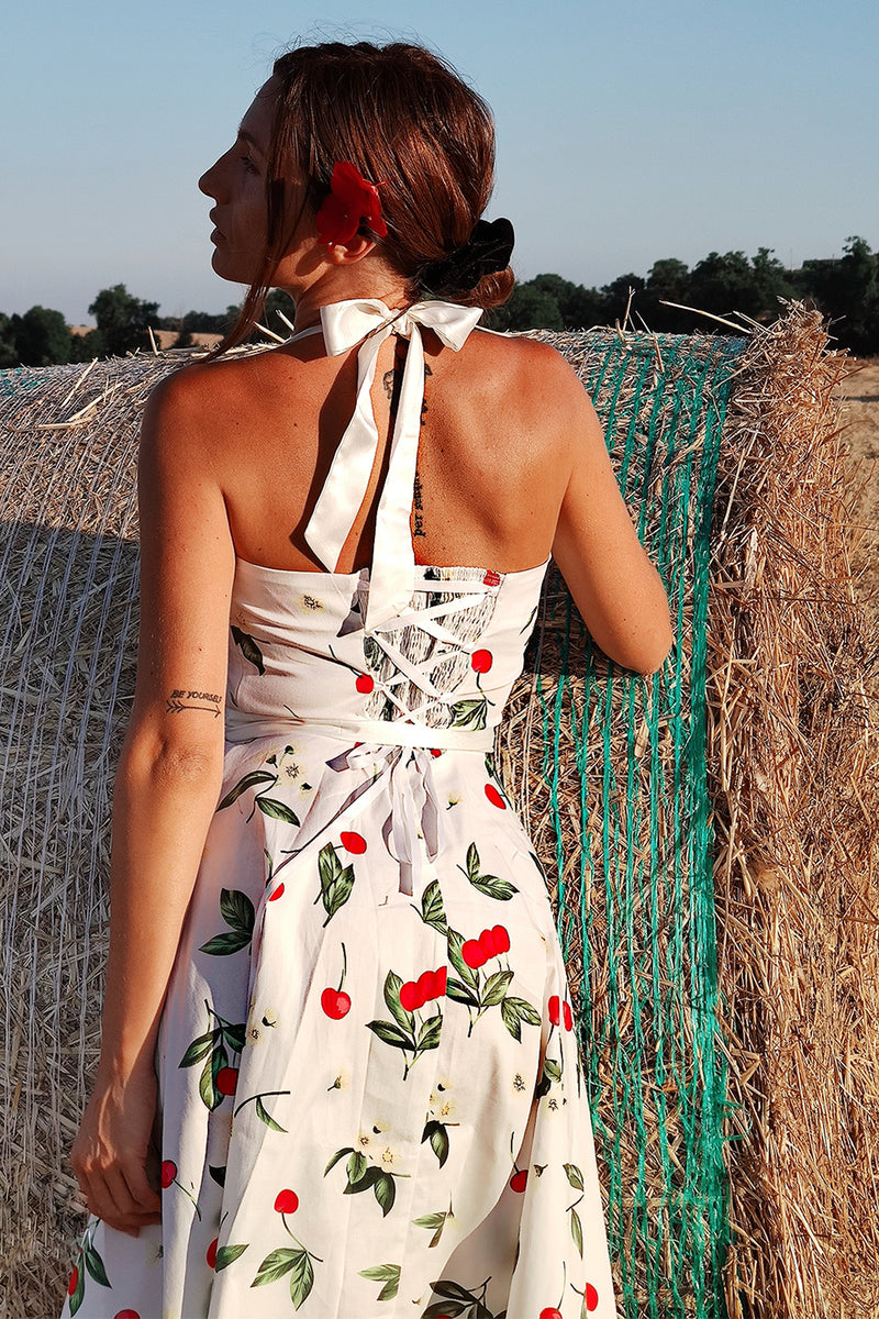 Load image into Gallery viewer, Print Pin Up Halter Vintage Dress