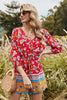 Load image into Gallery viewer, Summer Print Red Short Jumpsuit