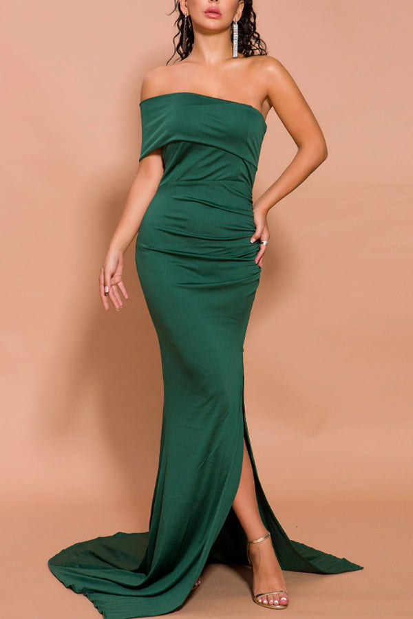 Load image into Gallery viewer, Mermaid One Shoulder Dress with Slit