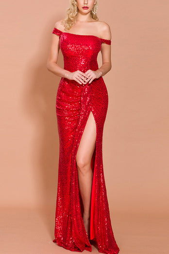 Red Sequin Memaid Long Prom Dress