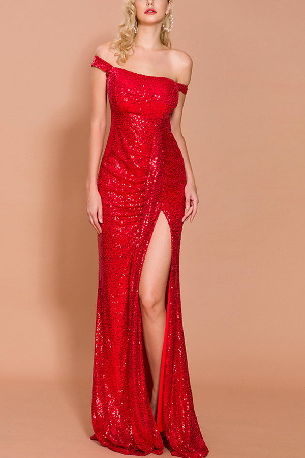 Load image into Gallery viewer, Red Sequin Memaid Long Prom Dress