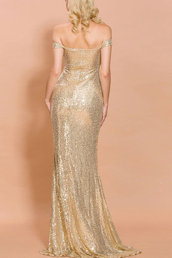 Gold Sequin Memaid Long Prom Dress