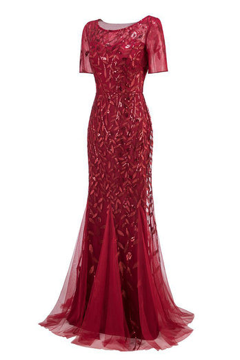 Mermaid Short Sleeves Red Prom Dress