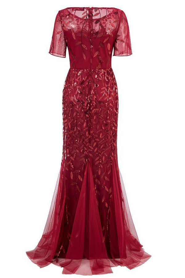 Load image into Gallery viewer, Mermaid Short Sleeves Red Prom Dress
