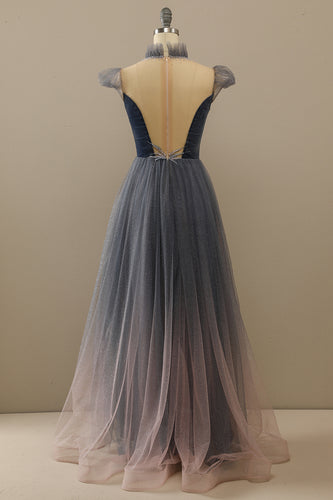 High-low Tulle Indigo Homecoming Dress