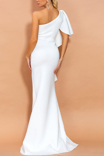 One Shoulder White Evening Party Dress