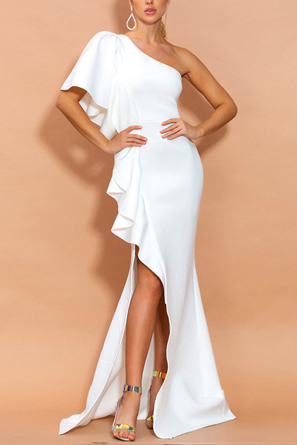 Load image into Gallery viewer, One Shoulder White Evening Party Dress