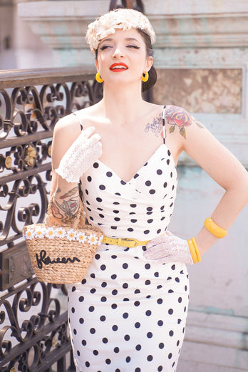 Polka Dots Mermaid 1960s Dress