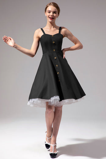 Vintage Swing Dress With Button