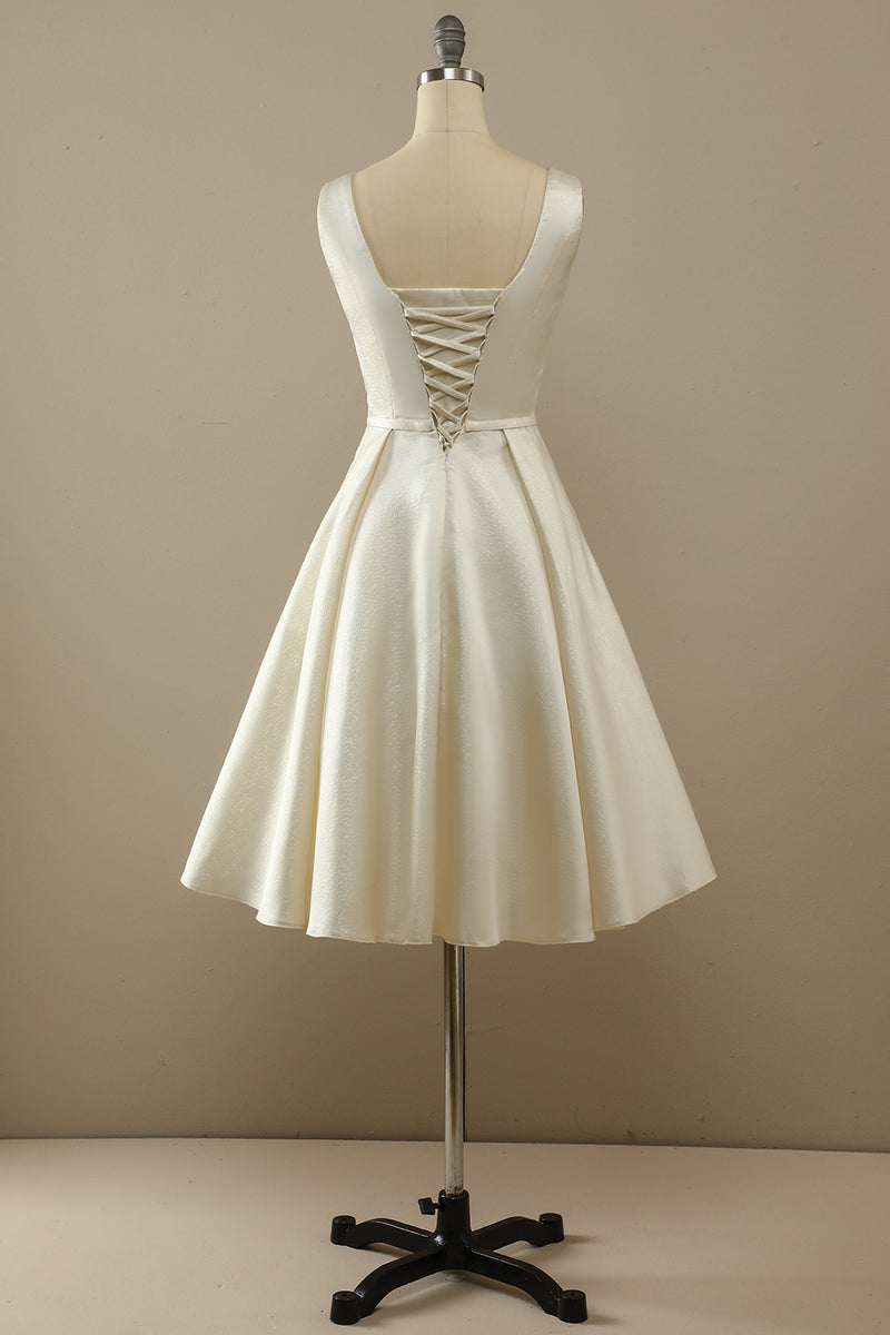 Load image into Gallery viewer, Champagne Satin Homecoming Dress