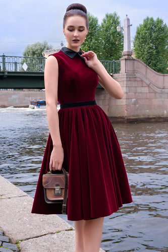 Burgundy Velvet Short Dress