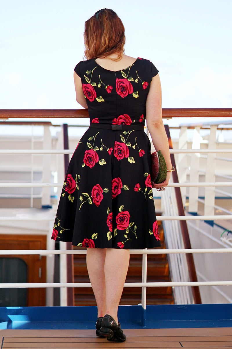Load image into Gallery viewer, Black Rose Printed Dress