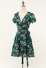 Load image into Gallery viewer, Green Floral V Neck Wrap Dress with Short Sleeves