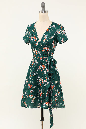 Green Floral V Neck Wrap Dress with Short Sleeves