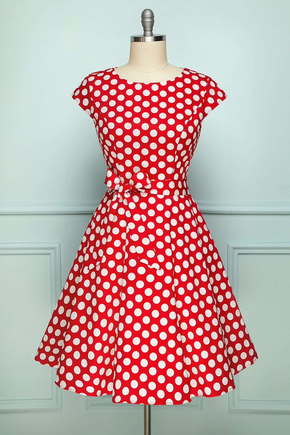 Red w White Polka Dots 1950's Style Dress