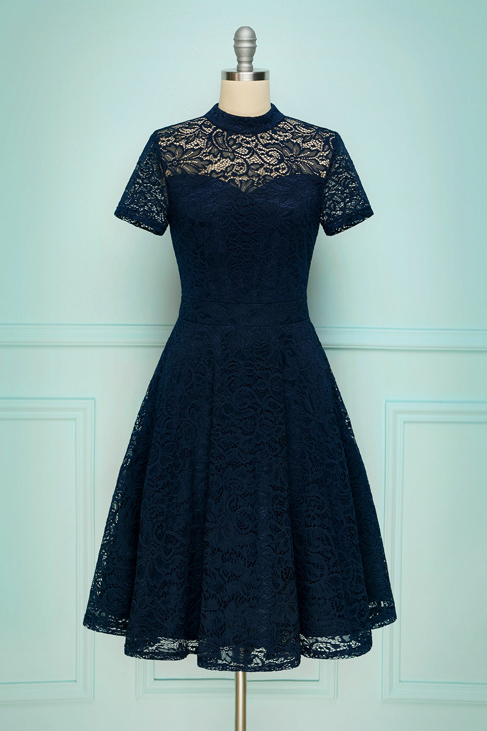 Navy High Neck Lace
