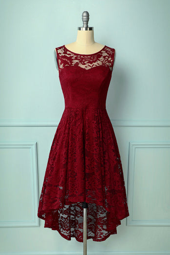 Dark Red Asymmetry Lace Dress