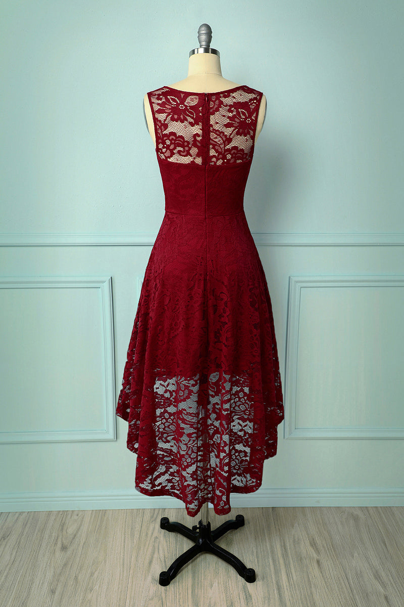 Load image into Gallery viewer, Dark Red Asymmetry Lace Dress