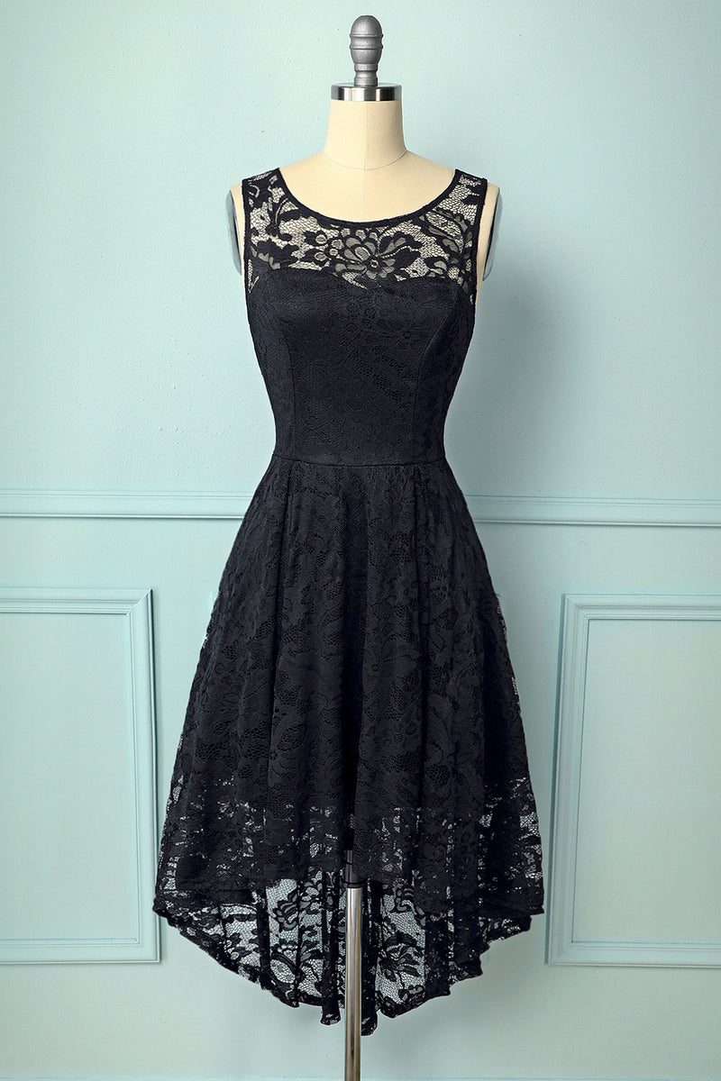 Load image into Gallery viewer, Black Asymmetrical Lace Dress