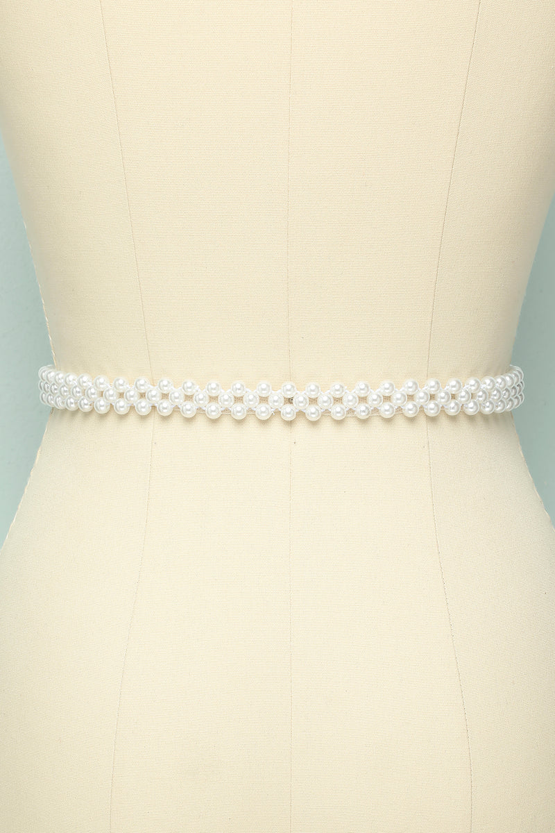 Load image into Gallery viewer, Pearl Rhinestone Bridal Sash