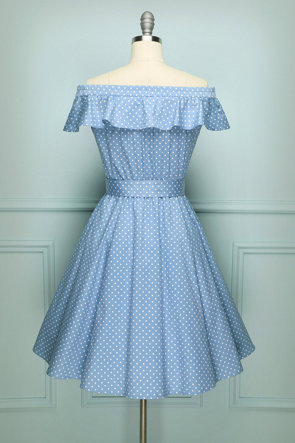 Off-shoulder Polka Dots Swing Dress