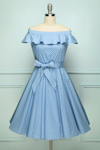 Off-shoulder Polka Dots Dress