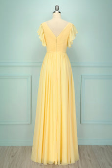 Yellow V-neck Long Bridesmaid Dress