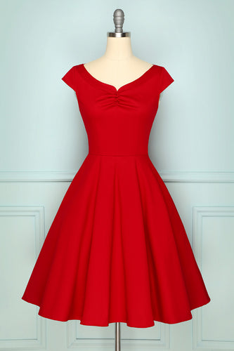 1950s Dark Red Dress
