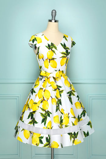 V-neck Print 50s Swing Dress