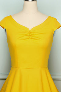 50s Yellow Solid Dress