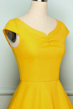Load image into Gallery viewer, 50s Yellow Solid Dress