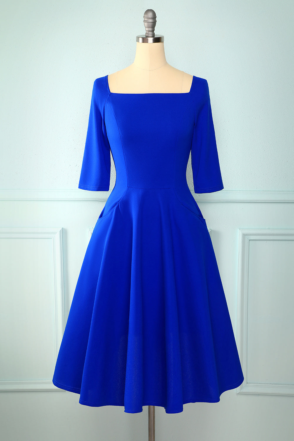 Royal Blue Midi Dress with Pockets