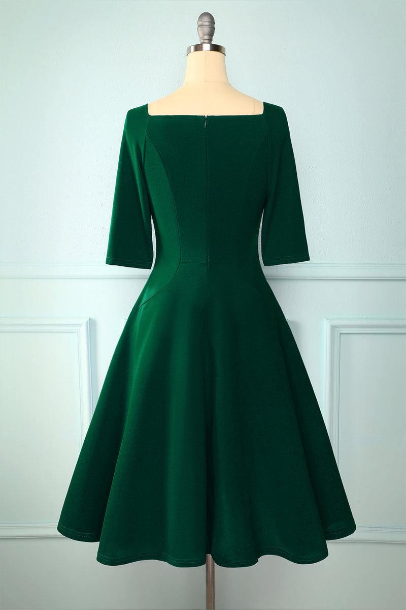Load image into Gallery viewer, 3/4 Sleeves Vintage Dress with Pockets