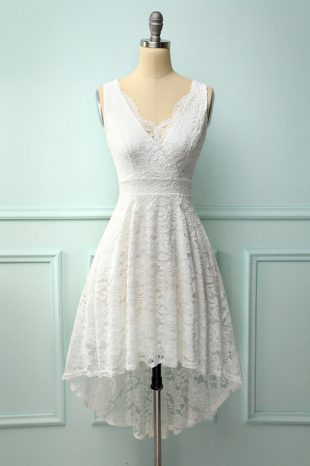 White V-Neck Lace Dress