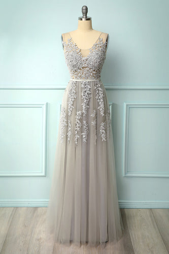 Grey Appliques Dress