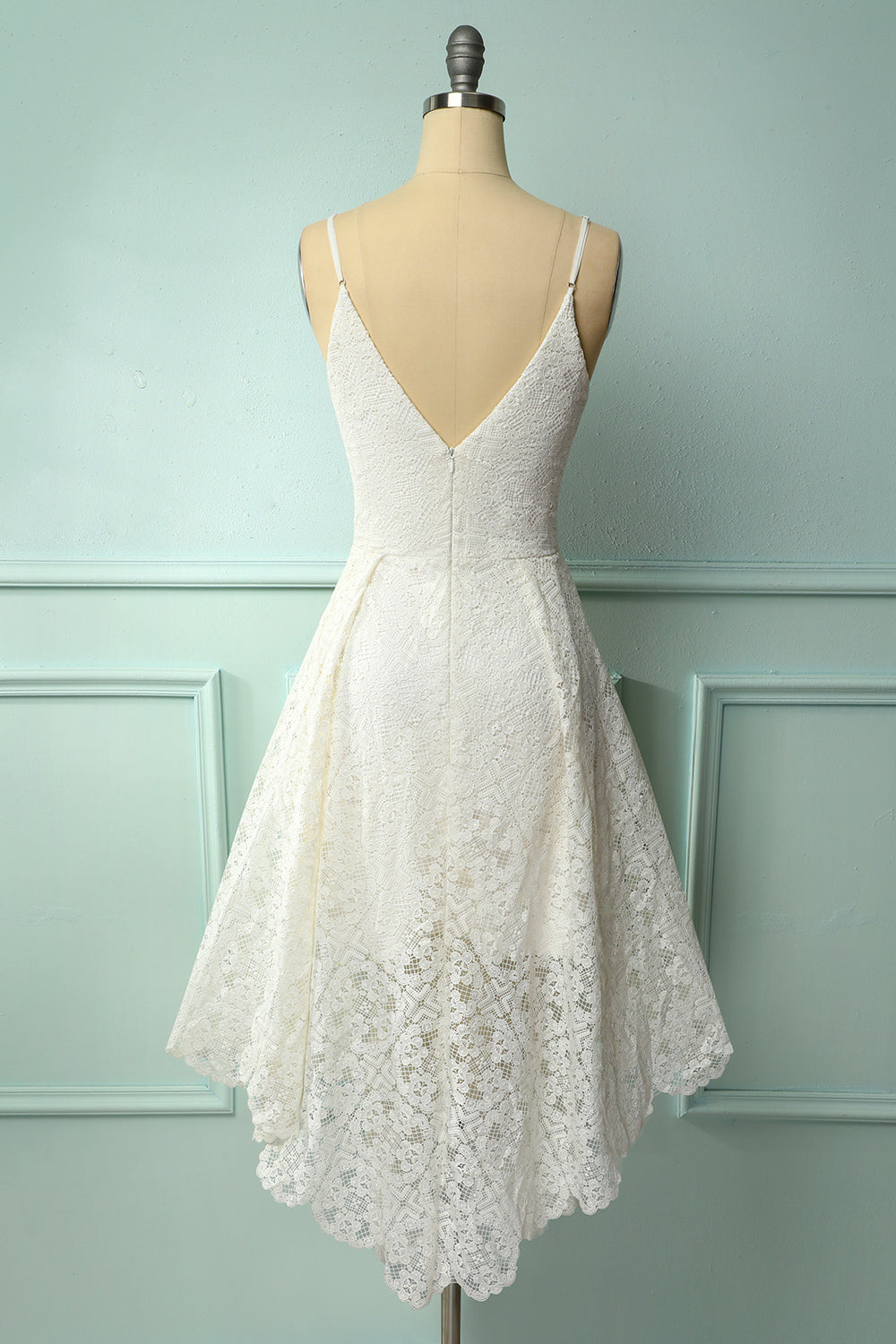 White Lace Asymmetrical Dress