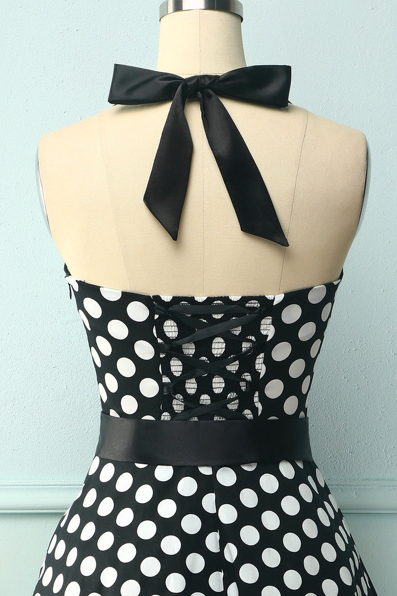 Load image into Gallery viewer, Halter Black White Dots Dress